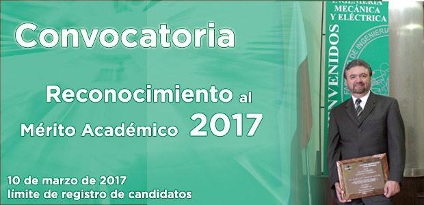 Convocatoria para el Reconocimiento al Mérito Académico 2017